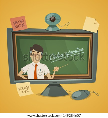 Online education. Vector illustration. - stock vector