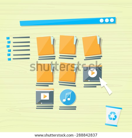 Online Folders Cloud Internet Data File Icon Documents Browser Window Vector Illustration - stock vector