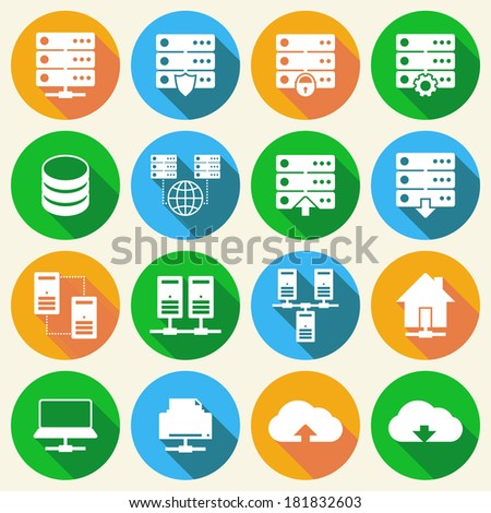 Online internet hosting technology icons set of network server infrastructure data center services isolated hand drawn sketch vector illustration - stock vector