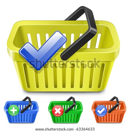 Online Internet Store Shopping Carts. Set of colorful shopping basket with signs. - stock vector