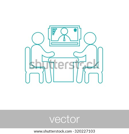 online interview - video conference - online meeting - two human figures sitting around the table talking, with a human figure in the screen at the background - concept - stock vector