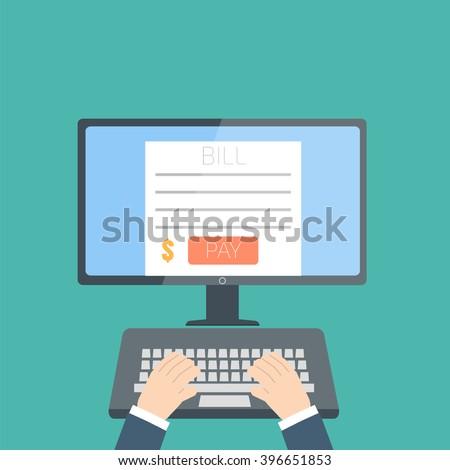 online invoice desktop - stock vector
