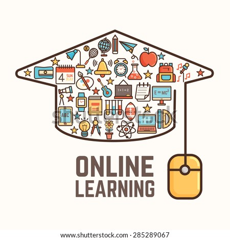online learning conceptual background - stock vector