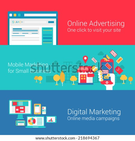 Online markeing concept flat icons set of seo internet advertisement mobile promotion digital marketing campaign search engine vector web illustration website click infographics elements collection - stock vector