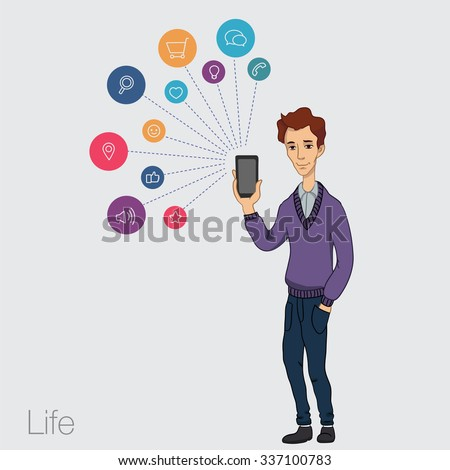 Online market in smartphone. Icons app of entertainment, business via cloud service, technology. Guy with mobile phone in white background. Vector illustration of cartoon man for business presentation - stock vector