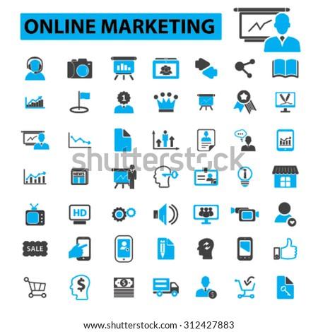 Online marketing icons concept. Internet marketing,  digital marketing,  online promotion,  social media,  seo. Vector illustration set - stock vector
