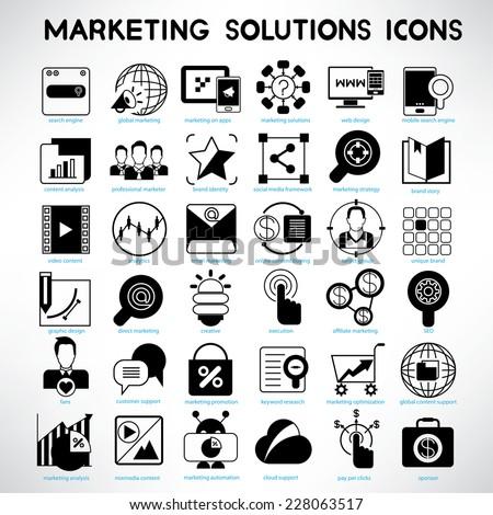 online marketing solution service icons set, web marketing icons set - stock vector