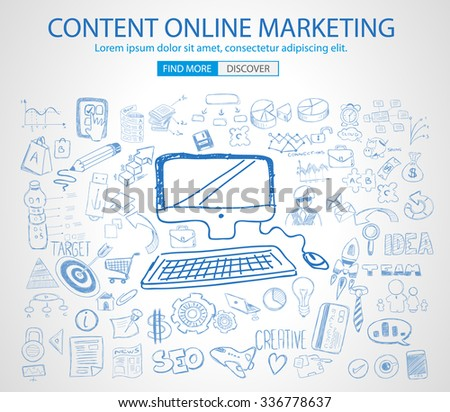 Online Marketing with Doodle design style :finding solution, brainstorming, creative thinking. Modern style illustration for web banners, brochure and flyers. - stock vector