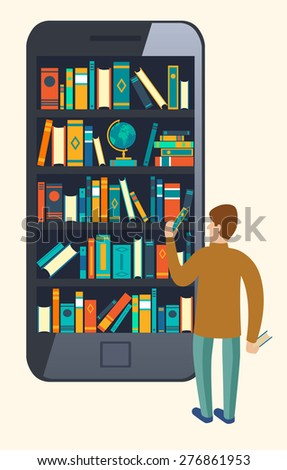 Online mobile library creative modern design web isometric concept. Library shelf in smart phone tablet micro people reading put take off books. World knowledge in pocket. Vector flat illustrations. - stock vector