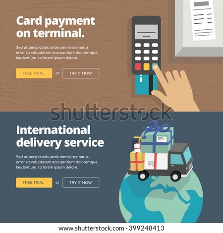 Online & mobile payment website banners and illustrations. One page web design heroimage collection 1. - stock vector