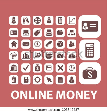 online money, bank, finance, banking, payment isolated flat web icons, signs, illustrations set, vector - stock vector