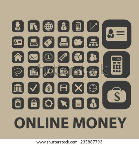 online money, payment, atm, bank icons, signs set, vector - stock vector