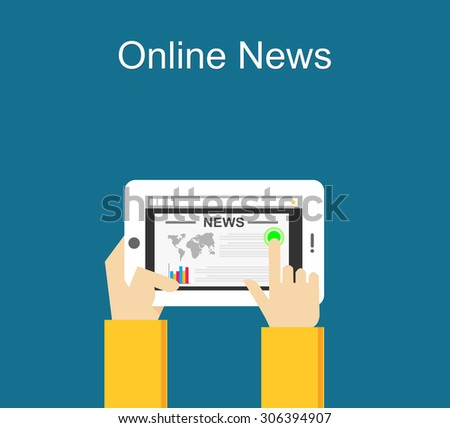 Online news concept illustration. Reading online news on smartphone concept. Flat design. - stock vector