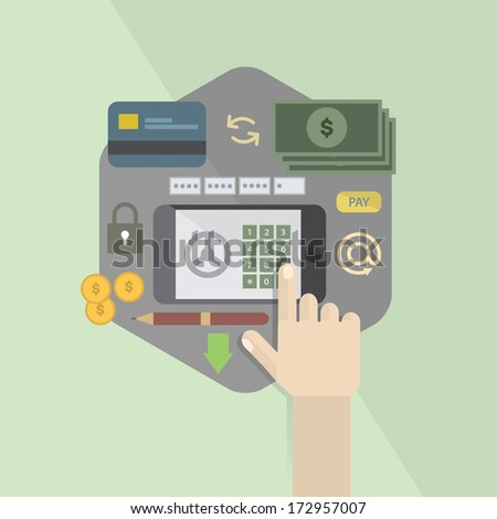 Online paying, e banking, internet banking - stock vector