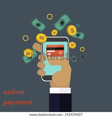 Online payment vector concept in flat style - stock vector