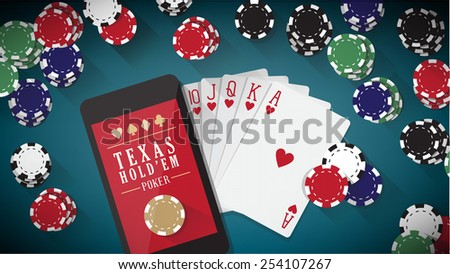 Online poker app with hand touching on tablet touch screen, smart phone, cards and chips all around - stock vector