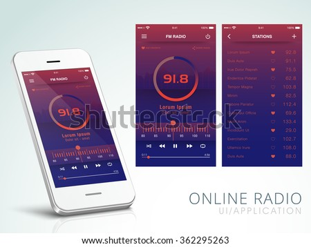 Online Radio Application User Interface layout including FM Radio Screen and Station Screens for Mobile Apps.  - stock vector