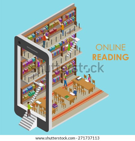 Online Reading Conceptual Isometric Vector Illustration. People in Library. - stock vector