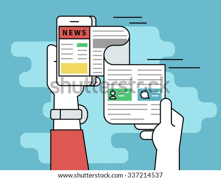 Online reading news. Flat line contour illustration concept of online reading news using smartphone app. Human hand holds smartphone and reading daily newspaper - stock vector