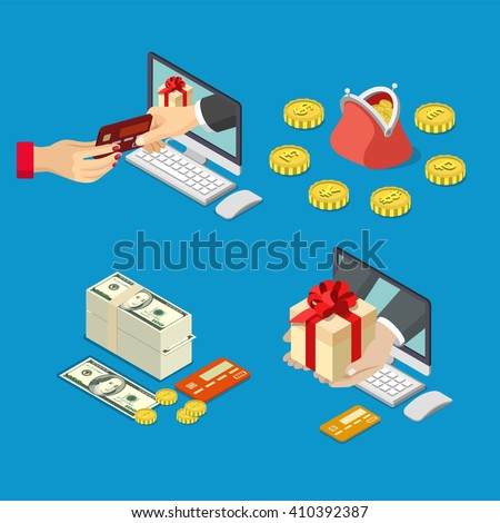 Online sale payment method delivery e-commerce concept. 3d isometric style vector illustration. Hand from computer monitor take pay bank credit card give box money coin currency purse. - stock vector