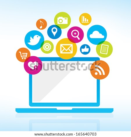 Online Sharing - Computer with media icons - stock vector