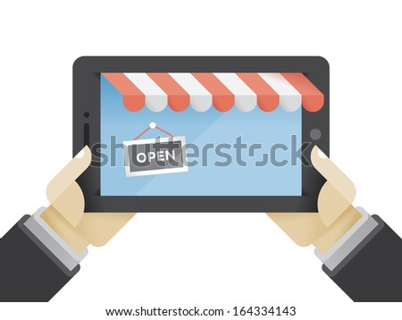 """Online shop on tablet computer in businessman hands. Tablet computer with abstract online shop on the screen with """"OPEN"""" sign. Idea - Online shopping concept.   - stock vector"""