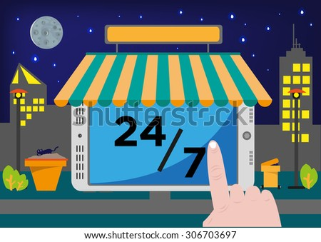 Online Shop Selling Point of Sale System (POS) or Buying stuff via Internet for 24 hours, 7 days - stock vector