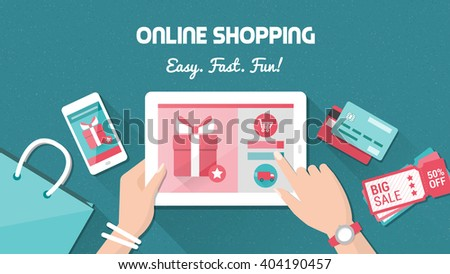 Online shopping and delivery concept, woman buying fashion products from an e-shop using a digital touch screen tablet, flat lay - stock vector