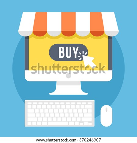 Online shopping and e-commerce flat illustration concept. Modern flat design concepts for web banners, websites, printed materials, infographics. Creative vector illustration - stock vector