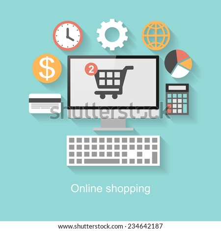 Online shopping concept, flat design with long shadow on turquoise background   - stock vector