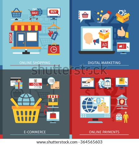 Online Shopping Concept Set With Icons In Flat Style. E-Commerce, Shopping And Online Payments Elements - stock vector