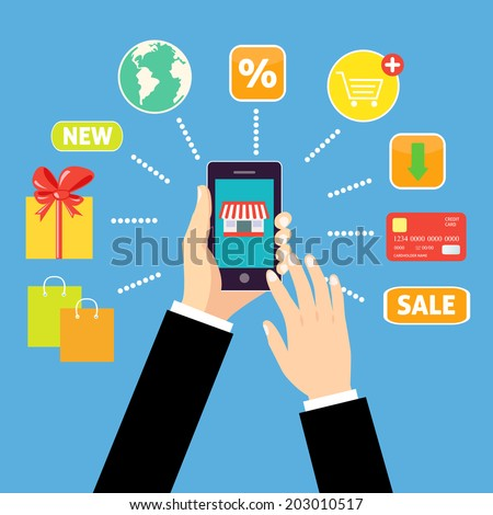 Online shopping concept with man holding smartphone and e-commerce icons vector illustration - stock vector