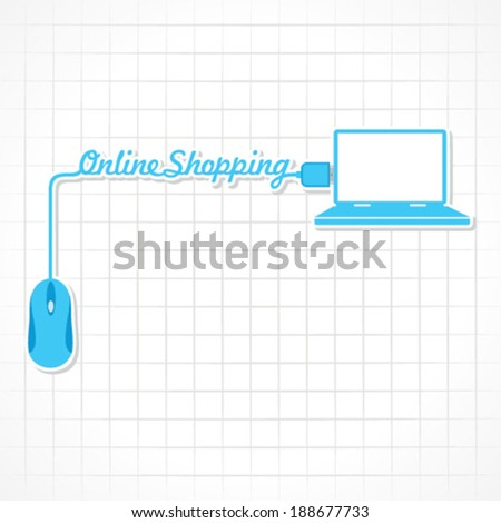Online shopping Concept with mouse and laptop stock vector - stock vector
