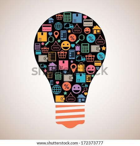 Online shopping creative light bulb emblem in flat style vector illustration - stock vector
