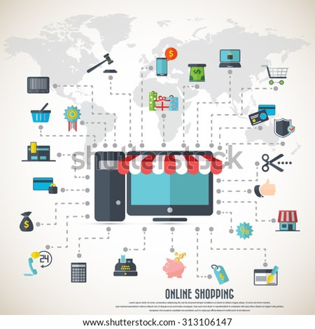 Online shopping - desktop with awning,  various icon set and detailed world map. EPS10 vector. File is layered and can be used in any project. - stock vector