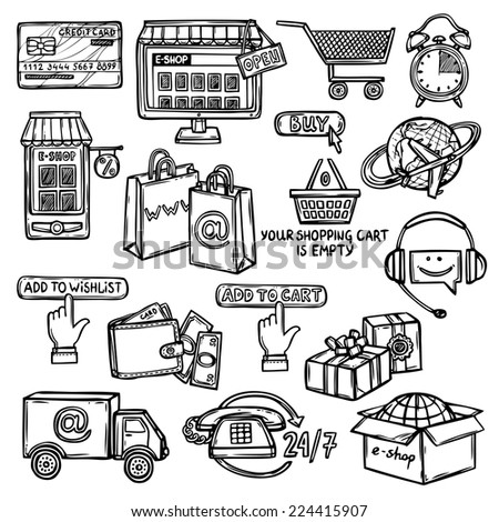 Online shopping e-commerce advertising commercial services sketch decorative icons set isolated vector illustration - stock vector