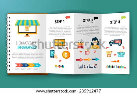 Online shopping e-commerce flat infographics on folded notebook page vector illustration - stock vector