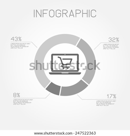 online shopping ecommerce store pie chart infographic statistics business vector template  - stock vector