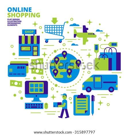 Online Shopping, Flat Design, Illustration - stock vector
