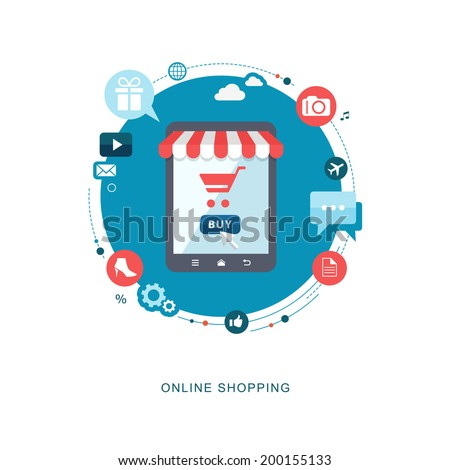 Online shopping flat illiustration. eps10 - stock vector