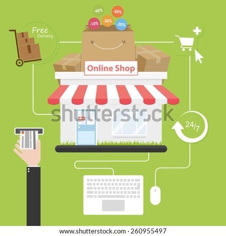 Online shopping. Flat style. Savings on purchases over the internet - stock vector