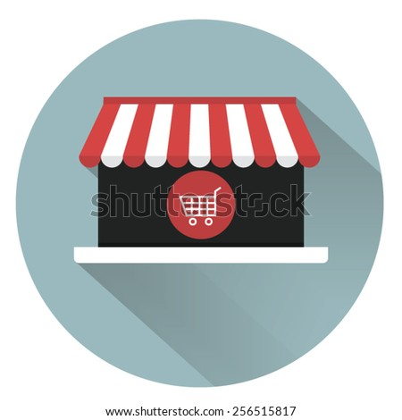 Online shopping icon with long shadow. - stock vector