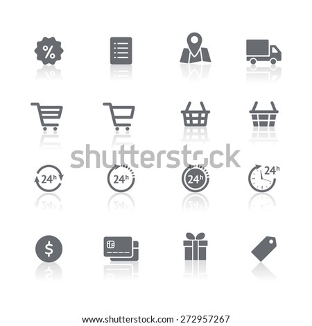 Online shopping icons set. Vector pictogram symbols with reflections. Set of shopping cart, basket and bag, delivery, sale, map and other - stock vector