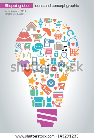 Online Shopping Idea Concept Design - stock vector