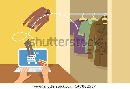 Online shopping men clothes flat vector conceptual illustration. A man with laptop orders clothing in the online store with delivery directly to his home. Male wardrobe with different garments - stock vector