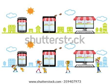 Online shopping mobile. - stock vector