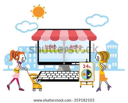 Online shopping PC. - stock vector