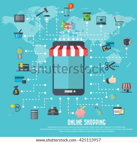 Online shopping - smart phone icon with awning, various shopping icon set and detailed world map. EPS10 vector. File is layered and can be used in any project. - stock vector