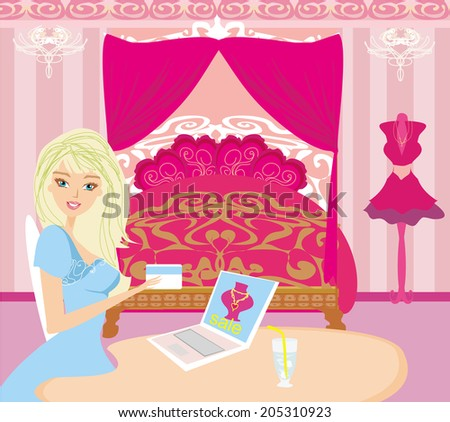 Online shopping - young smiling woman sitting with laptop computer  - stock vector