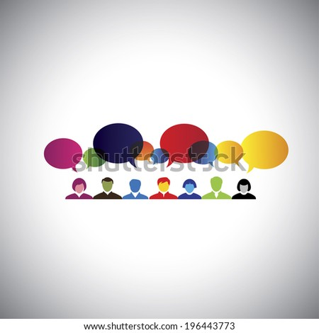 online social network of people talking, chatting - concept vector. This graphic illustration can also represent executives & employees meeting, online chat, interaction & communication - stock vector